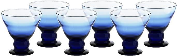 6er Set Eisschale Set Dessertschale Eisbecher Glas Antico Blau 12,5 cm Gelato Vero
