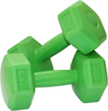 SportVida halterset Hexagon haltergewichten korte halterset van kunststof | 2 stuks | gewichtkeuze 1-6 kg | Gym Fitness Ae...