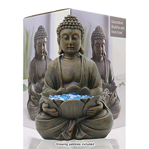 Meditating Buddha Statue Figurine Sitting Sculpture Decoration 12' Marble Finish with Lotus and Magical Glow in The Dark Pebbles and Glass Stones, Polyresin, Antique Bronze Look