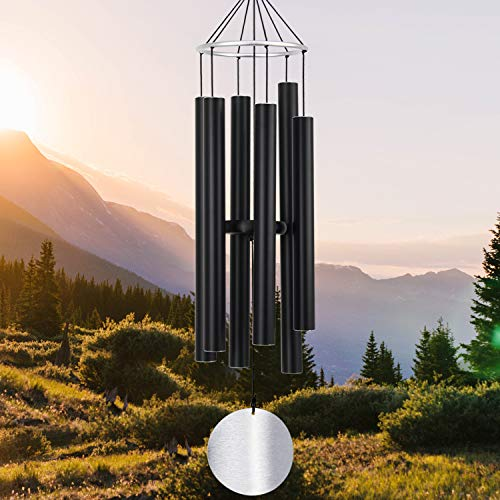 ASTARIN Wind Chimes Outdoor Large Deep Tone,36Inch Large Wind Chimes Tuned Relaxing Soothing Low Bass,Memorial Wind Chimes Sympathy for Mom Dad,Black(A Free Card)
