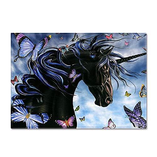 DRTWE Alfombra arrastrándose del niño Terciopelo Suave Anti Skid Alfombra 3D Unicornio impresión vivero Durable Juego Alfombra de Piso para Dormitorio Sala de Estar patrón Gris Fresco,200 * 300cm