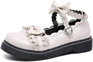 tiebixiaojun Women Japanse Harajuku Sweet Lolita Shoes PU Leather Strap Bows Mary Jane Flat Shoes