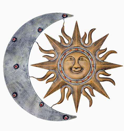 Decoración de pared de metal azteca sin marca para sol y luna, decoración de pared de metal, decoración de sol de metal, decoración de luna de metal (64,8 cm de ancho x 58,4 cm de alto).