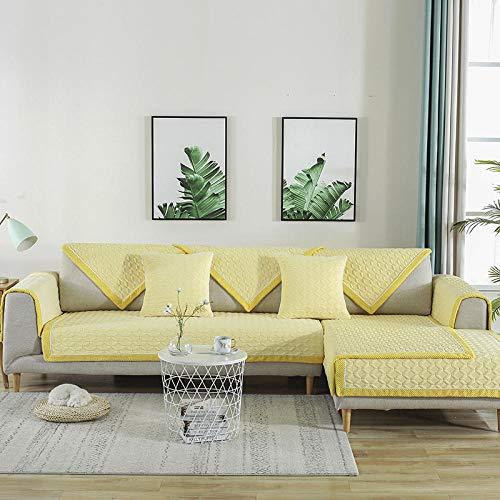 Couch schoner,sesselläufer,sofaläufer,Frühling Herbst Plüsch Sofakissen,Winter Universal Stoff Sofa Handtuchbezüge,rutschfeste Sofabezug,Kinderspielmatten-gelb_90 * 210cm