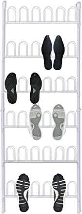 Anself Shoe Rack Over The Door Wall Shoe Rack Storage Shoe Stand for 18 Pairs of Shoes White Steel