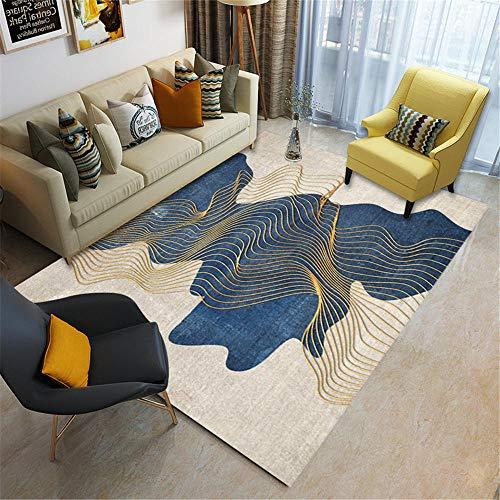 Kunsen alfombras Infantiles Juegos alfombras para Salon Alfombra de Sala de Estar Azul marrón Arte Antimanchas, Antideslizante y Resistente a caídas Decoracion de Salones 120X160CM 3ft 11.2' X5ft 3'