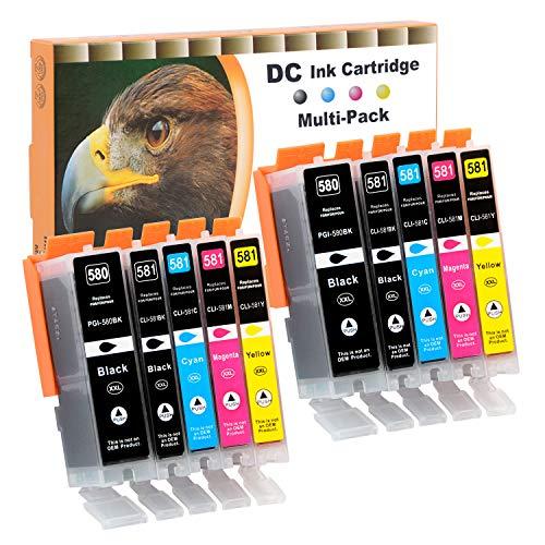D&C 10x cartucce compatibili con Canon PGI-580 CLI-581 ricambio per Canon Pixma TR7550 TR8550 TS6150 TS6151 TS6250 TS6251 TS8150 TS8151 TS8152 TS8250 TS8251 TS8252 TS9150 TS9155 TS9550