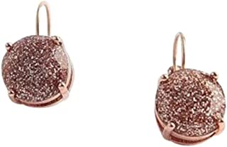 Kate Spade Rose Gold/Gold Glitter Round Leverback Drop Earrings