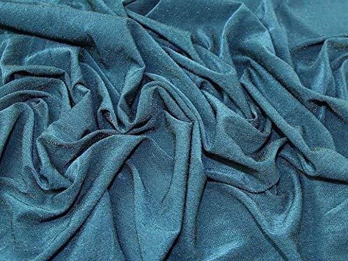 Minerva Crafts Lurex-Jersey-Stoff, Blaugrün, Meterware