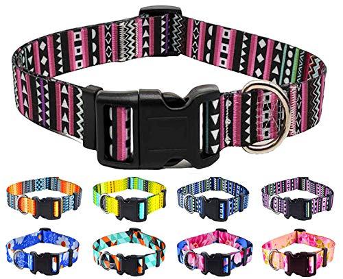 Mihqy Collar Perro, Collar de Perro Mascota Ajustable para Gato Cachorro Perros, diseños Modernos, para Perros pequeños, medianos y Grandes(Morado Bohemia,L)