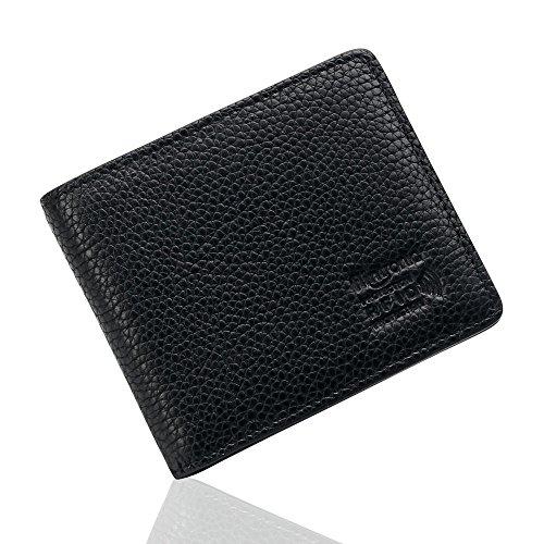 flintronic  Tarjetas de Crédito, Cartera Piel RFID Billetera Hombre Cuero Monedero Tarjetero Slim Suave Moda y Casual, Negro con Caja