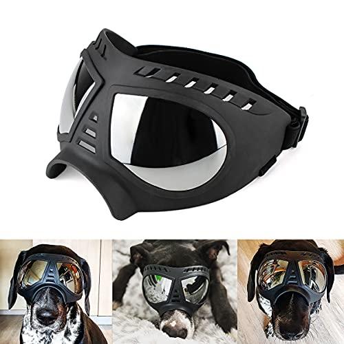 PETLESO Hunde Sonnenbrille Augenschutz Hundebrille Schutzbrille fuer Große Hunde für Outdoor-Aktivitäten ( Schwarz)