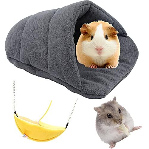 Meerschweinchen-Bett Kleine Tier Plüsch Höhle Kaninchen Bett Haus Kleintier Banane Frettchen Schlafsack für Eichhörnchen Chinchilla Igel Hase Hamster (2er Pack)