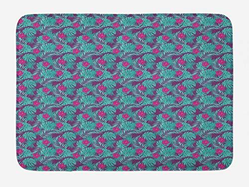 ABAKUHAUS Tropical Tapete para Baño, Hojas del Hibisco Hawaiano, Decorativo de Felpa Estampada con Dorso Antideslizante, 45 cm x 75 cm, Oscura de la Magenta y