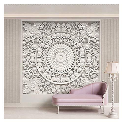 HYCSP Tapeten-European Style White Gips Blumen Fototapeten Wohnzimmer Schlafzimmer Hintergrund Wandmalerei 3D-Fresko (Color : A)
