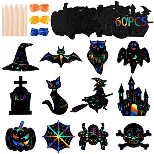 MIAHART Halloween Theme Scratch Paper 24 Stück Rainbow Scratch Art Paper Card Kürbisfledermaus Castle Hats Craft Kit mit 10 Stück Bambusstiften und 8 Millionen Bändern für DIY Halloween Kunsthandwerk