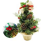Mini arbol de Navidad, Mini árbol de Pino de Navidad Artificial, árbol de Navidad de Fibra óptica, para el hogar/Oficina/Barra de Compras (30 cm/11,8 Pulgadas (Bayas Rojas)