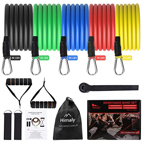 Uten Resistance Bands Set 12pcs, 100lbs Elastic Exercise Bands with Door Anchor, Handles, Ankle Straps and Carry Bag, Indoor Outdoor Fitness, Full Body Workout