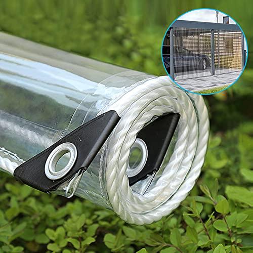 LHXY 6m X 3m Telone Trasparente in Plastica 0.35mm Telo Impermeabile PVC Tenda di Protezione con Occhielli e Teloni,Copertura per Esterni,Piante,Resistente alle Intemperie,Pieghevole,365g/m²