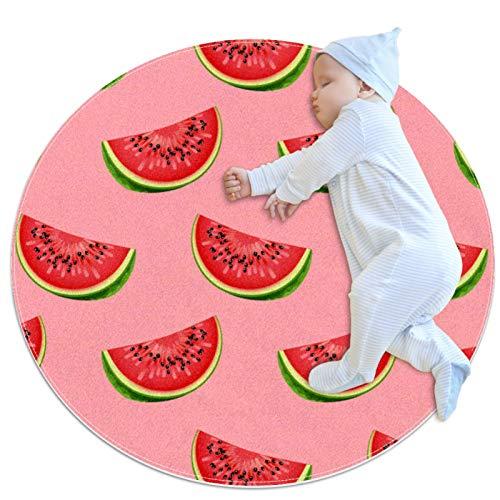Alfombra Redonda Sandía Rosa Alfombra Redonda decoración Arte Antideslizante niños Lavables a máquin Suave Sala Estar Dormitorio de Juegos para 70x70cm