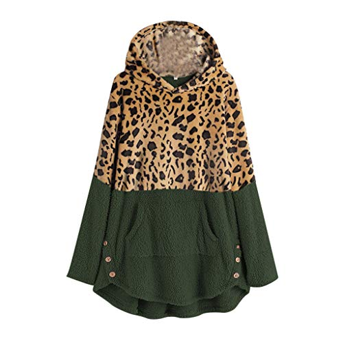 Lowest Prices! CrazyfashionPlus Size Leopard Sweater Womens Winter Fleece Long Sleeves Casual Gree...