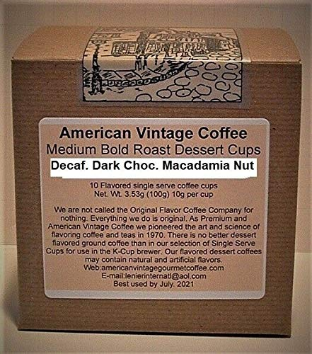 Decaf. Dark Choc. Macadamia Nut Flavored Dessert Coffee 10 Medium Bold K-Cups
