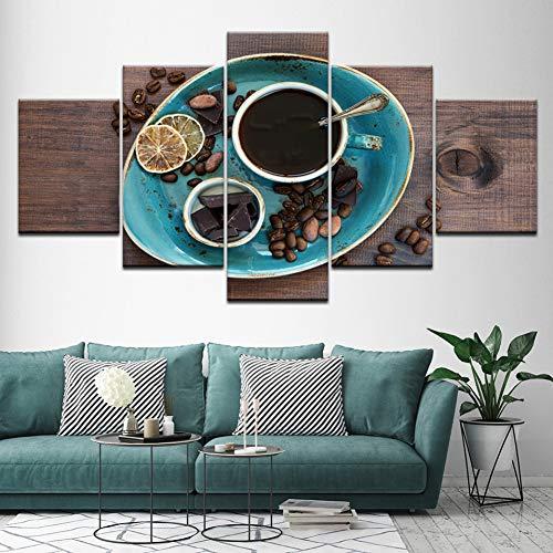 MMLFY 5 opeenvolgende schilderijen canvas schilderij koffiebonen chocolade 5 stuks muurkunst schilderij modulaire behang poster afdrukken woonkamer wooncultuur