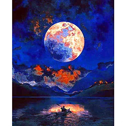 LKAZLL Pintura por números, paisaje de pesca, barco de bricolaje, pintura al óleo por números, paisaje callejero, lienzo de pintura artística, decoración del hogar, 40,6 x 50,8 cm