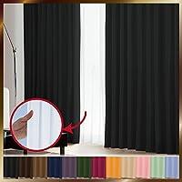 窓美人 1級遮光カーテン&UV・遮像レースカーテン 各2枚 幅100×丈190cm 幅100×丈188cm ピュアブラック リュミエール 断熱 遮熱 防音 紫外線カット