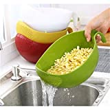 Rice Washer Quinoa Strainer Cleaning Veggie Fruit Kitchen Tools with Handle Newest (S, Green)