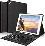 KVAGO Teclado Inalámbrico para iPad 9ª Gen 2021/8ª Gen 2020/7ª Gen 2019 (10,2 Pulgadas), Funda con Español Teclado Bluetooth Desmontable para iPad 10.2/iPad Air 3 /iPad Pro 10.5, Negro