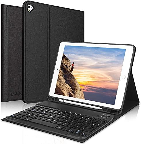 KVAGO Teclado Inalámbrico para iPad 8ª Gen 2020/7ª Gen 2019 (10,2 Pulgadas), Funda con Teclado (Disposición QWERTY Español) Bluetooth Desmontable para iPad 10.2/iPad Air 3 /iPad Pro 10.5, Negro