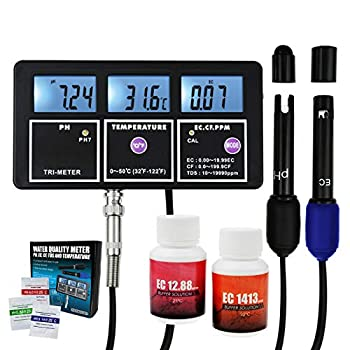 5-in-1 Water Quality Multi-Parameter PH EC CF TDS  ppm  Temperature Test Meter Backlight Wall-mountable Rechargeable Continuous Monitor Tester Aquariums Hydroponics Pool Fish Tank Pond Drinking