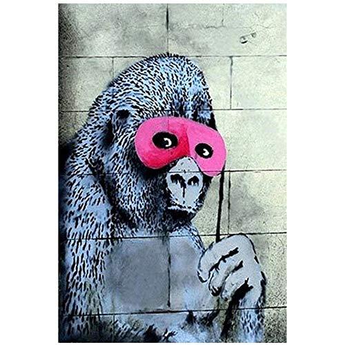 LiangNiInc Leinwandbilder Wandkunst Poster Druck AFFE mit Augen Maske Druckraum Dekor Schimpanse Straße Graffiti Gemälde 70x90cm (27,6