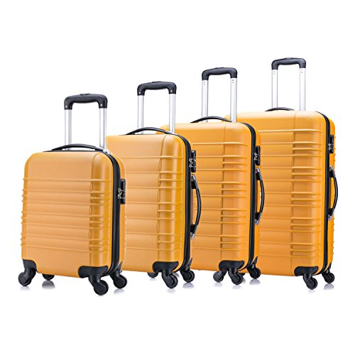 4 teiliges Koffer Set von Jalano Reisekofferset ineinander stapelbar Gepäck-Set Koffer Trolley Hartschale, Farbe: orange