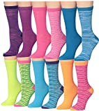 Tipi Toe Women's 12 Pairs Colorful Patterned Crew Socks (Space...