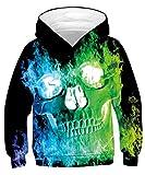 TUONROAD Sweatshirt Niño Gracioso Calavera Halloween 3D Impreso Hoodie Niña Ligero Sport Pullover Confortable Sudaderas con Capucha Unisex Manga Larga Sweater Hoody con Bolsillos Cordón - L