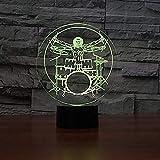 Lámpara de ilusión óptica 3D 7 y 16M colores Aplicación móvil Batería Set Rock Instrumentos musicales En tienda familiar Ambiente romántico niños amigos regalos de vacaciones