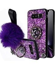 Herbests Compatible para Samsung Galaxy Note 8 Funda de Silicona Ultrafina con Soporte Anillo Purpurina Diamante Rhinestone + Hairball Estuche Antichoque Anti-Scratch Cover,Púrpura