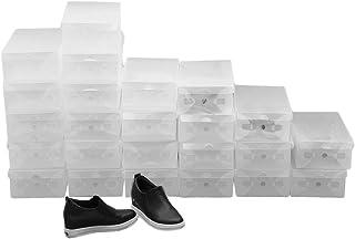 Homgrace 10 Cajas/12 Cajas/24 Cajas para Zapatos Transparente Plástico Caja Guardar Zapatos Calcetines Juguetes Cintur...