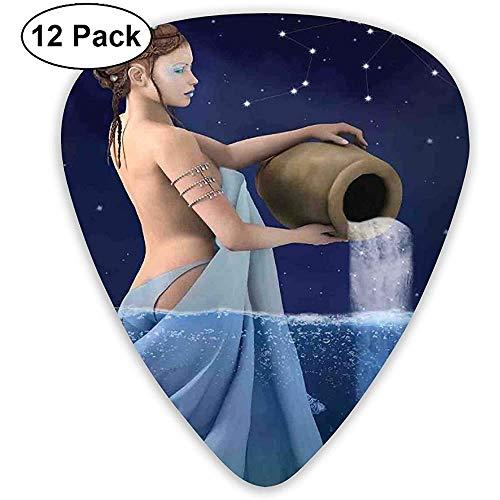 Púas de guitarra Paquete de 12, Acuario Lady con cubo en el mar Signos de agua Saturno Misterio en la noche Estrellas
