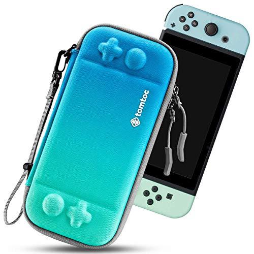 tomtoc Étui Mince pour Nintendo Switch, Étui Original pour Console de Nintendo Switch, Housse de Transport Rigide avec 10 Emplacements pour Cartes de Jeu, Twisted Bleu
