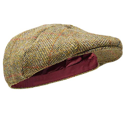 Borges & Scott Coppola Dingwall con 8 Spicchi - 100% Lana - Harris Tweed - Tessuta a Mano - Resistente all'Acqua - Herringbone 62cm