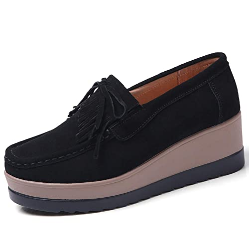 f0f03bb2e07 STQ Women Comfort Platform Loafers Slip On Wedge Suede Shoes Wide Moccasins  Work Sneakers