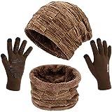 Winter Slouchy Beanie Hat Fleece Skull Cap with Scarf Neck Warmer and Tech Glove 3 Pcs Set for Ski by Maylisacc Khaki