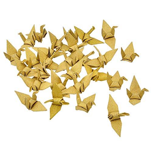 WANDIC Origami Grúas de papel, 50 piezas hechas a mano plegadas de papel origami guirnalda para decoración del hogar, decoración del hogar, purpurina dorada