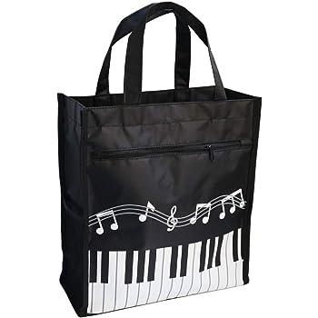 borsa della spesa in tema chiavi musicali Muiscal instruments beige 36x41/cm con disegno di note e strumenti musicali Punk borsetta da donna in cotone