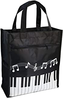 Music Bag Handbag Waterproof Oxford Cloth Music Clef Piano Key Pattern For Learning Shopping Travel (Black 1 Pack)