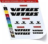 Adesivi Bici Vitus Kit Adesivi Stickers 10 Pezzi -Scegli SUBITO Colore- Bike Cycle pegatina cod.0422 (Nero cod. 070)