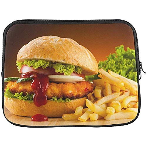 Schotel Voedsel Recept Fast Food Hamburger Sandwich Sleeve Zachte Laptop Case Bag Pouch